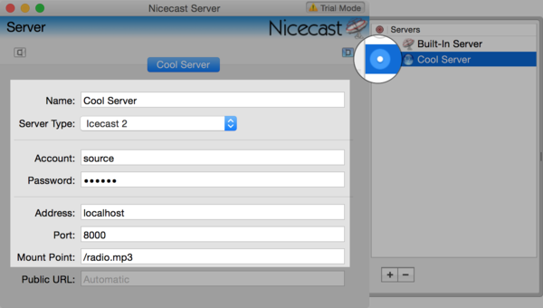Nicecast New Server Window filled.png